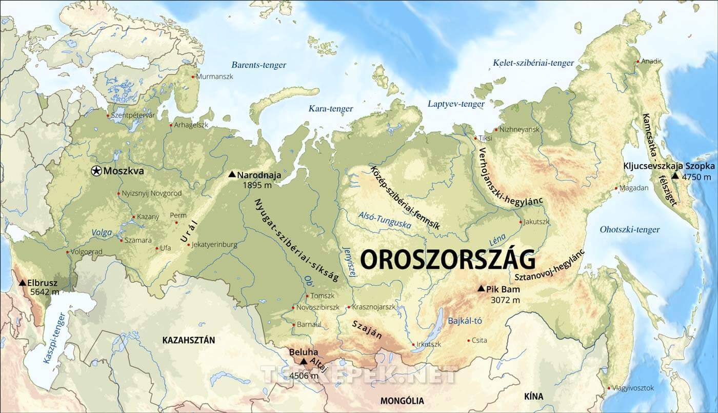 oroszország térkép Oroszország domborzati térképe